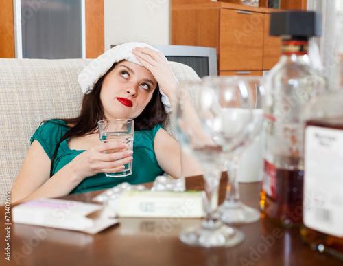 Fotografie, Obraz  girl having hangover