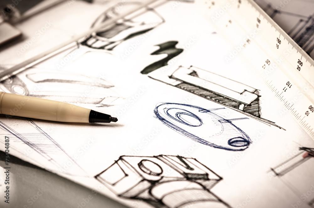 Fototapety, obrazy: idea sketch of product design