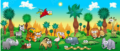Recess Fitting Green Green forest with funny wild animals