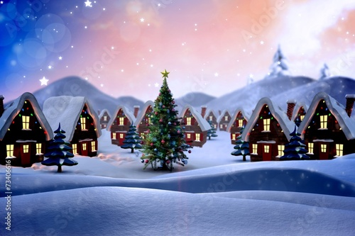 Fotobehang Lichtroze Composite image of cute christmas village