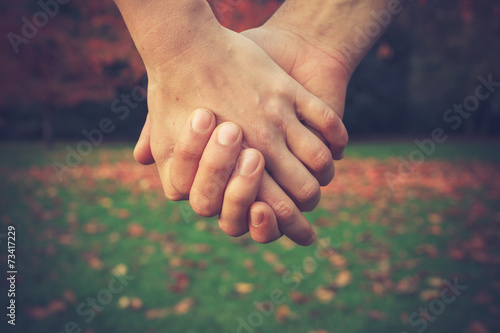 Couple holding hands in park Poster
