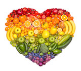 Fototapeta Tęcza - Rainbow heart of fruits and vegetables