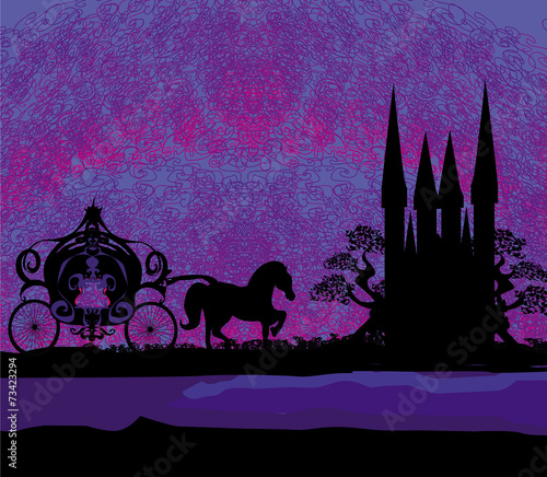 Garden Poster Pink Silhouette of a horse carriage and a medieval castle