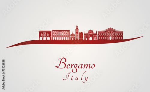 Fotografie, Obraz  Bergamo skyline in red