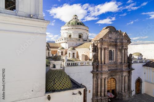 Stampa su Tela dome of La Compania church in Quito Ecuador South America