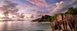 canvas print picture - Anse Source d'Argent panorama at twilight, La Digue, Seyshelles
