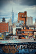 Graffiti and urban buildings in downtown Manhattan.