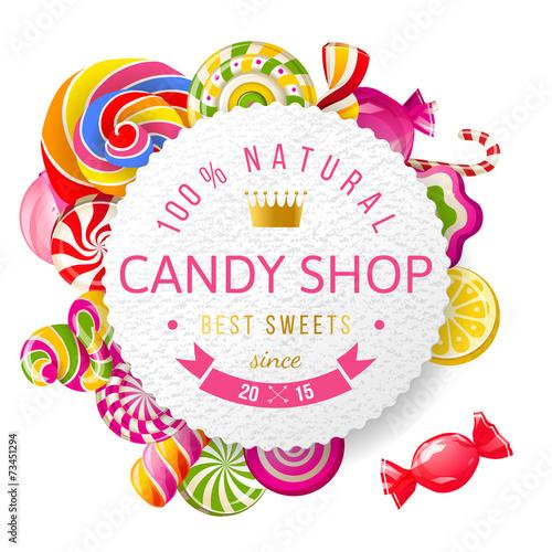 Fotografie, Obraz  Candy shop label with type design
