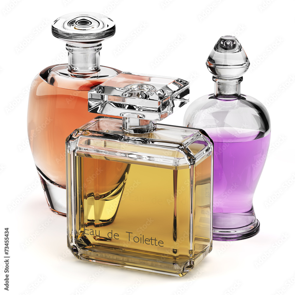 Perfume glass bottles isolated