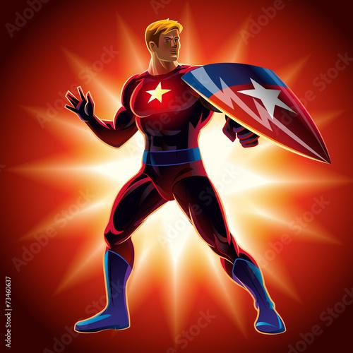 Photo  Superhero with the shield. Vector illustration