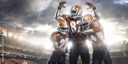 American football players in action on stadium Canvas Print