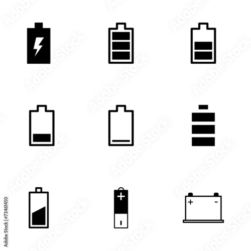 Vector black battery icon set Canvas