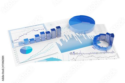 Analyse von Diagrammen mit Aktienkursen Wallpaper Mural