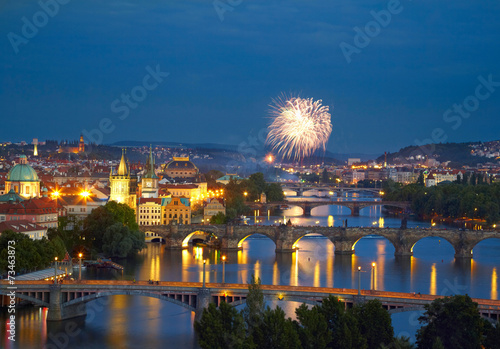 Tuinposter Singapore Prague after sunset with fireworks