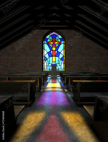 Obraz na plátně Stained Glass Window Church