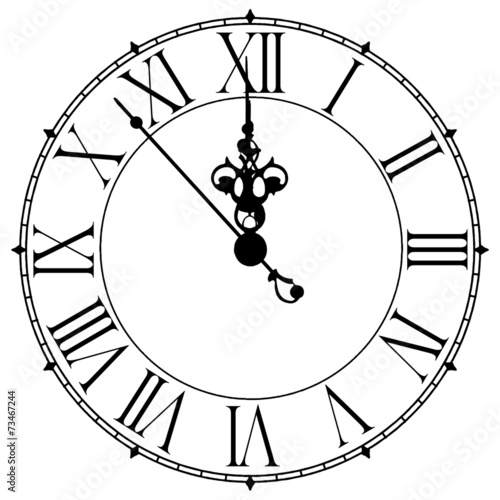 Fotomural Image of an old antique wall clock 7 seconds to midnight or noon