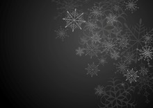 Black And Grey Christmas Background With Snowflakes