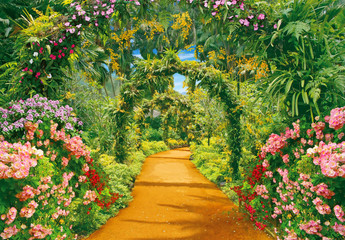 Panel Szklany Ogrody Alley of flowers in tropical garden