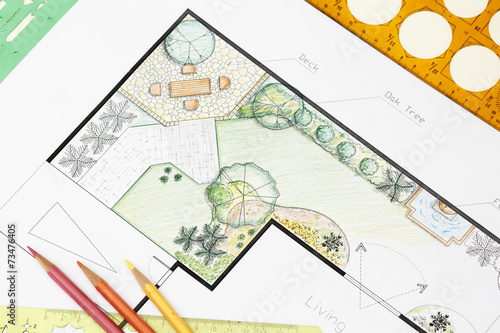 Spoed Foto op Canvas Wit Landscape architect design garden plan