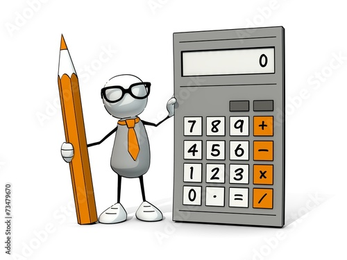 Fotografía  little sketchy man with glasses with calculator and pencil