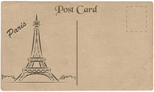 Old Postcard From Paris With A Drawing Of The Eiffel Tower