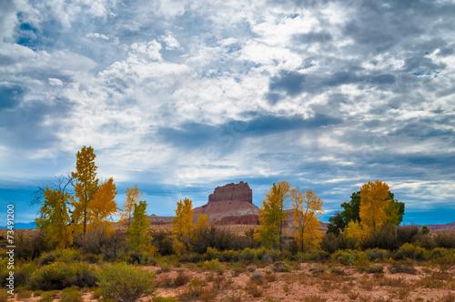 Fotobehang Natuur Park Wild Horse Butte Fall Colors and Beautiful Dramatic Sky Utah Lan