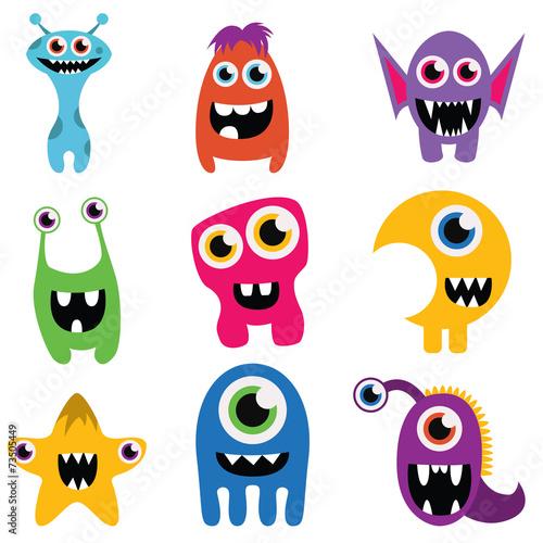 Canvas Prints freaky happy monsters set