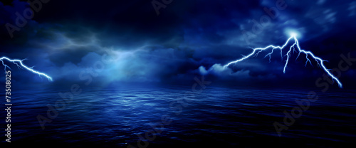 sea storm lightning ocean wallpaper background #73508025