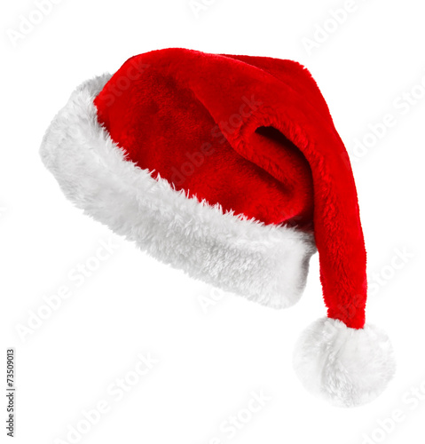 Photo  Santa red hat isolated in white background