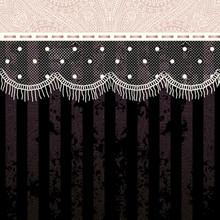 Polka Dot Fringe Lace On Black...