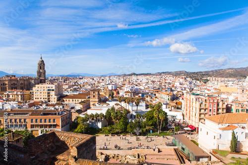 Poster Havana Malaga cityscape from Alcazaba. Andalusia, Spain.