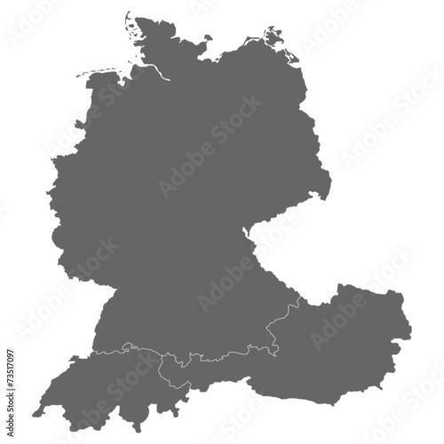 Fotografie, Obraz  Deutschland, Österreich und Schweiz in grau