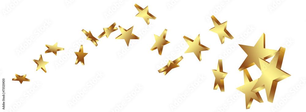 Fototapety, obrazy: Sternschnuppe, Goldstern, Gold, Sterne, Schweif, Komet, Star, 3D