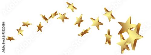 Canvas Print Sternschnuppe, Goldstern, Gold, Sterne, Schweif, Komet, Star, 3D