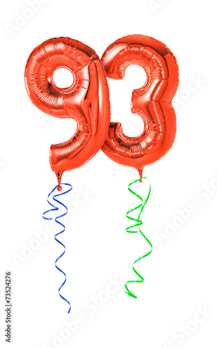 Valokuva  Rote Luftballons mit Geschenkband - Nummer 93