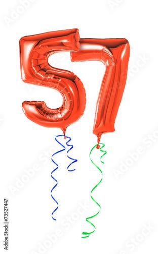 Rote Luftballons mit Geschenkband - Nummer 57 Canvas Print