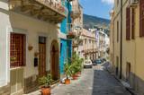 Fototapeta Uliczki - Lipari island colorful old town narrow streets