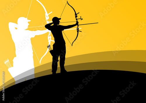 Active young archery sport man and woman silhouettes in abstract Canvas Print