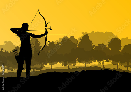 Fotografía Active archery sport silhouette background vector in nature conc