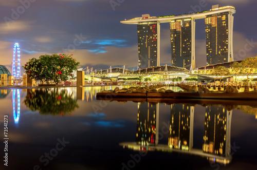 Tuinposter Singapore Singapore skyline at night