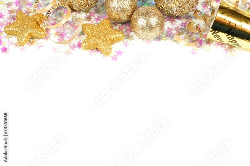 new years eve border of confetti and golden decorations on white