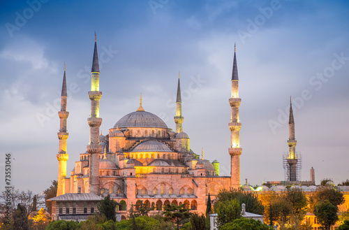 Fotografia  Amazing night view of Blue Mosque - Istanbul, Turkey