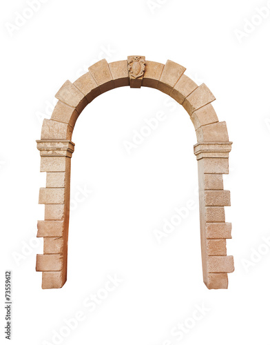 Photo  stone arch architecture isolated on white background, cliping pa