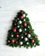 Red And Silver Ornament Balls Christmas Tree