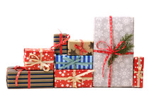 Christmas Gifts Isolated On Wh...