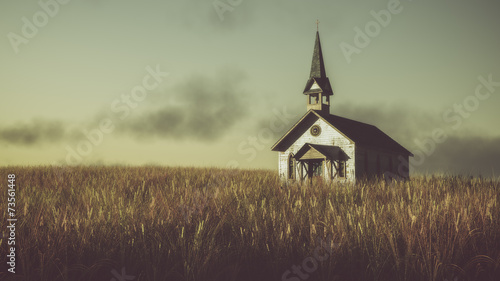Poster Deep brown Old abandoned white wooden chapel on prairie at sunset with clou