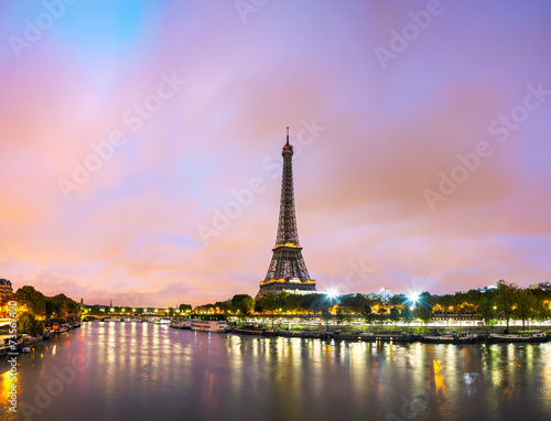 Paris cityscape with Eiffel tower Poster
