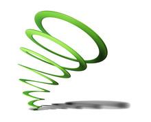 Green Spiral On White