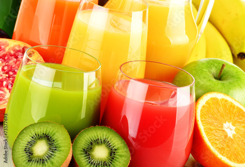Glasses of assorted fruit juice. Detox diet #73577693