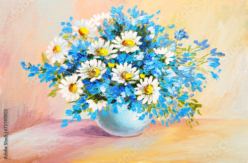 Fototapety, obrazy: oil painting still life - bouquet of flowers on the table